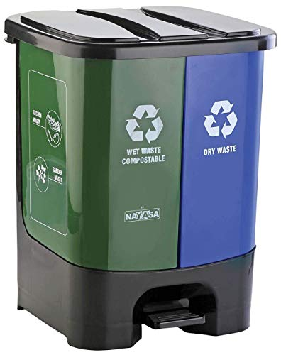 Nayasa Twin Bin Dry and Wet Waste Dustbin, Small, 19 litres