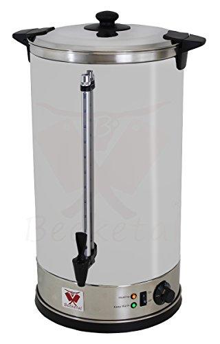 Beeketal 'BGWK30' Gastro Glühweinkocher 30 Liter Volumen mit Füllstandskala, Zapfhahn und stufenlos regelbarem Thermostat (30-110 °C), Profi Edelstahl Wasserkocher mit 2800 Watt Leistung