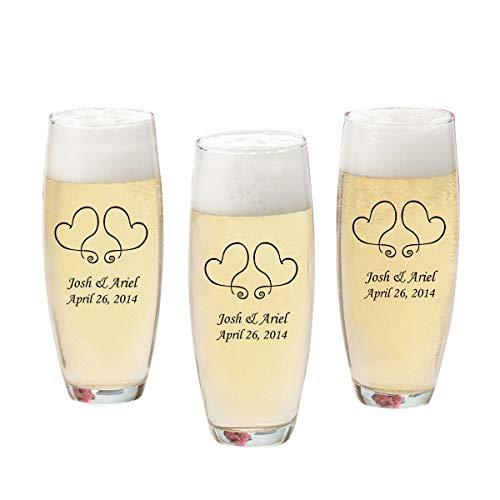 Personalisierte Weingläser ohne Stiel bedruckt champagner Flöten-(24Stück)-Personalisierte Champagner Gläser-Monogramm champagner Flöten-Zwei Herzen