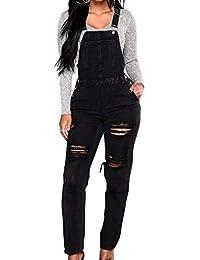 Salopette Donna Jeans Blu Sciolto Overall Lunga Dungarees Jumpsuit Tuta Denim  Casual Pantaloni Bavaglino Jumpsuit Moda 558a93c6a86
