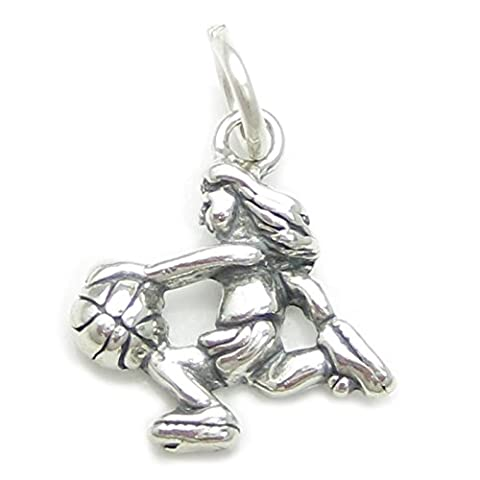 Female Basketball player sterling silver charm .925 x1 Basket Ball charms CF2944