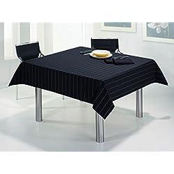 ES-TELA - Mantel SORIA color Negro - 100x140 cm - Resinado impermeable - Confección en dobladillo - Hilo tintado - 50% Algodón / 50% Poliéster
