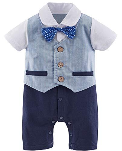 Jungen Ziel Kostüm - A&J DESIGN Baby Formell Kostüm Passen Strampler mit Fliege (Blau-1, 90 EU/9-12 Monate)