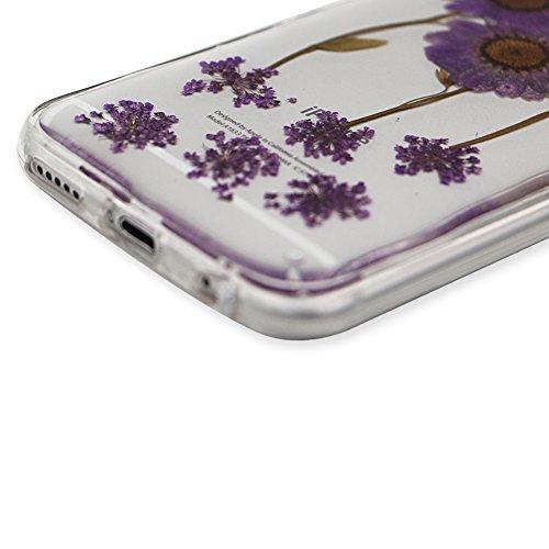 iPhone 6S Hülle Weiches Silikon Gummi Schutz Case,iPhone 6 Stilvoll Elegant Ultra Slim Dünn Passt Perfekt [ Echt Getrocknete Blumen Gepresste ] Klar Kristall Handyhülle,TPU Leicht Mode Soft Bumper Sch Lila Sonnenblumen