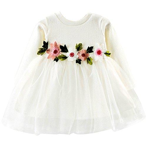 Kurze Baumwoll-taufe Kleid (CHIC-CHIC Mädchen Party Kleid Baby Blumen Ballettröckchen Prinzessin langes Hülsen Prinzessin Kleid)
