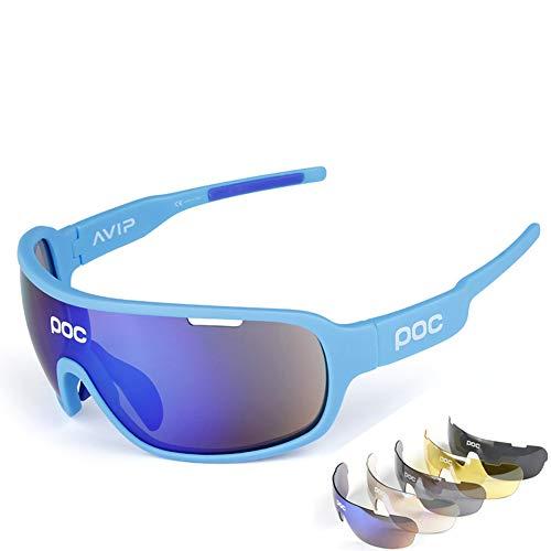 ZllSports Outdoor-Radsport-Poc-Brille mit polarisierter Fischen-Sonnenbrille für Unisex Kommt mit 5 Sätzen Wechselgläsern Sportwindschutzbrille,2