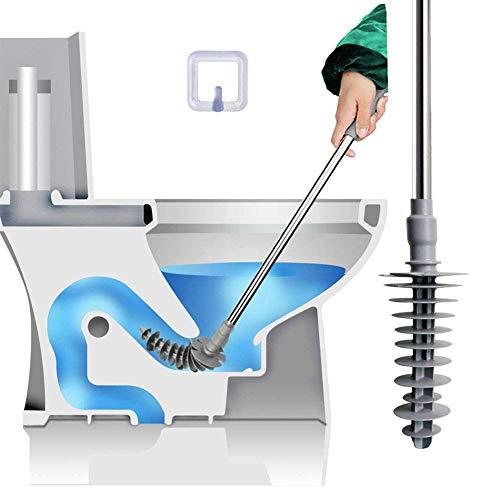 WC-Kolben mit kraftvoll gereinigtem Kolben-WC-Clog-Entferner Entwickelt für Syphons, flexibler Gummi-Edelstahlkopf mit freiem Wandhaken-Design (Kolben Wc)