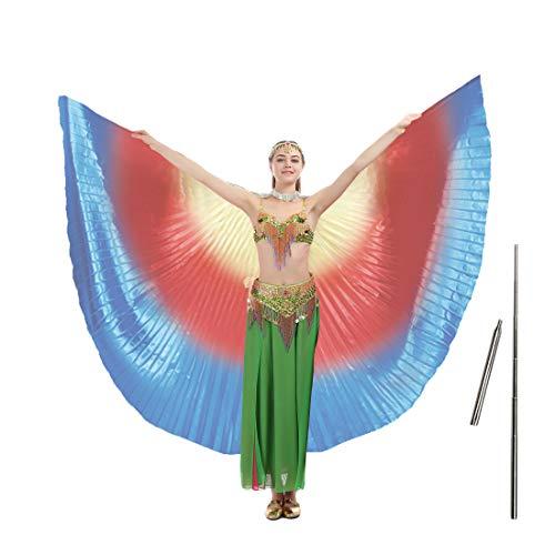 imucci 140cm 14Farben 360Grad Ägypten indischen Bauchtanz Wing Fan Tanzen Isis Flügel, Child rainbow with - Children's Tap Dance Kostüm