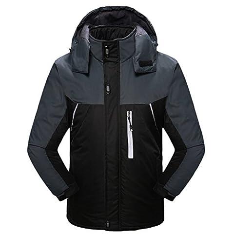 Zhuhaitf Vêtements de sport imperméables Men's Mens Winter Raincoat Fleece Thicken Hiking Windproof Mountain Jacket Outdterwear Coat Detachable Hoodie