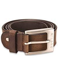 "Milano Mens Full Grain Leather Belt - 1.25"" (30mm) - Black and Brown # ML-2910"