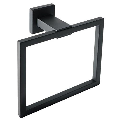 Sayayo EGA7215B Badregal - Handtuchhalter mit 1 Handtuchstange, Wandmontage, SUS 304 Edelstahl mattschwarz lackiert, 61 cm, metall, matte black, Towel Ring -
