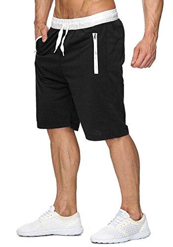 Herren Sweat Shorts Jogging Pant Sport Bermuda H1927,Schwarz,XXL