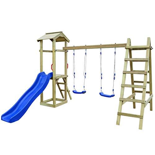 guyifuzhuangs Spielturm mit Rutsche Leitern Schaukeln 286 x 237 x 218 cm Kiefernholz Spielzeuge & Spiele Spielzeug für draußen Schaukeln & Spielplatzgeräte