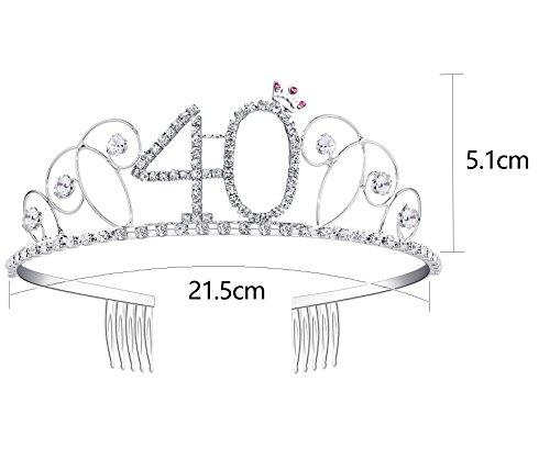 BABEYOND Kristall Geburtstag Tiara Birthday Crown Prinzessin Kronen Haar-Zusätze Silber Diamante Glücklicher 18/20/21/30/40/50/60 Geburtstag (40 Jahre alt) - 2