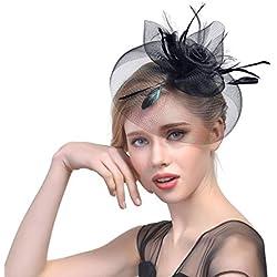 Babysbreath17 Clip niñas Partido de Las Mujeres del té Grande de la Flor de Plumas, Gorros Novia Tocados Casquillo del Sombrero Superior de la Boda Diadema de Pelo Negro