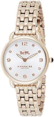 Coach WOMEN'S SILVER & WHITE DIAL IONIC PLATED CARNATION GOLD STEEL WATCH -