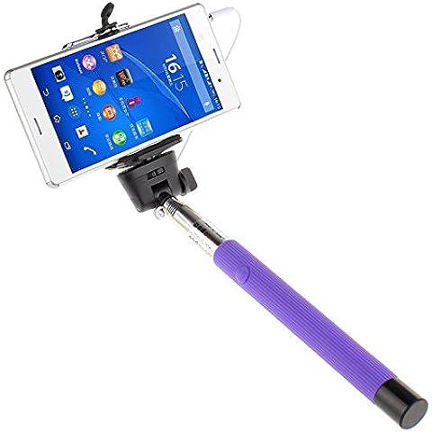 Cable violeta ultra® tomar profesional ajustable Selfie cableado Monopod palo Cable tomar Polo en negro azul rosa púrpura o verde para Samsung Galaxy S S4 S6 S6 borde Nota 1 2 3 Iphones 4 5 c 5 5s 6 6 más 7 y 7 plus LG G3 y todos los móviles androides (púrpura)
