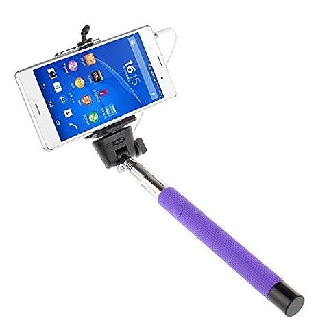 Ultra ® Cable nehmen professionell verstellbare selfie Wired Einbeinstativ Stick Kabel nehmen Pole in pink blau schwarz lila oder grün für Samsung Galaxy S4 s S6 S6 Edge Note 1 2 3 iPhones 4 5 5 c 5 s 6 6 plus 7 7 plus LG G3 und alle Mobiltelefone (violett)