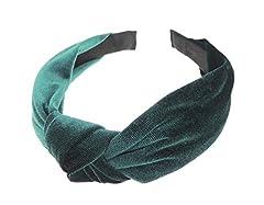 Idea Regalo - Glamour Girlz Cerchietto da donna in morbido velluto con fiocco Nodo superiore smeraldo. Taglia unica
