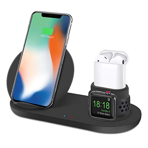 Bestrans Supporto Caricabatterie Wireless, Caricatore Wireless 3 in 1 per Apple Watch 4/3/2/1, Airpods, iPhone XS/XS Max/XR/X/8/8 Plus, Samsung Galaxy S9/S9 Plus/Note 8/S8/S8 Plus, Xiaomi Mix 2s