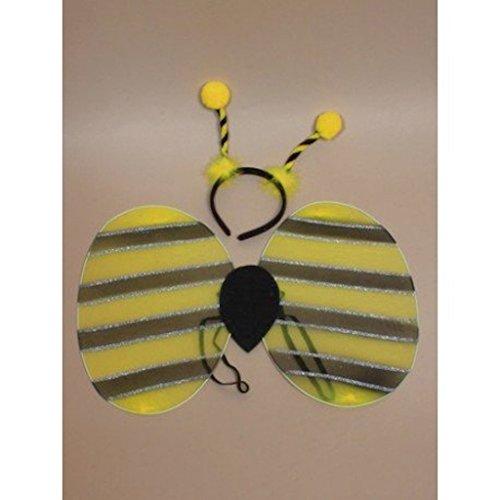 SCHWARZ GELB MIT GOLD GLITTER GLITTER BIENE WESPE INSEKT FLÜGELN - Biene Flügel Fühler Kostüm