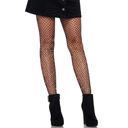 Leg Avenue 9323 - Lurex industrial net pantyhose, Einheitsgröße, Schwarzes Gold -