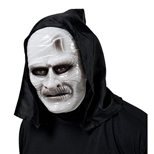 Kapuzen Maske Zombie Mumie Vollmaske Untoter Kopf mit Kapuze Verschleierter Geist Kopfmaske Mummy Kreatur Horrormaske Halloween Monster Faschingsmaske