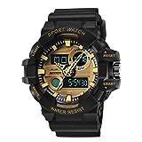 Herren Uhren, L'ananas Männer Sport Multifunktional Militär Spezielle Truppen LED Armbanduhren Men Watches Wristwatches (Schwarz+Gold)