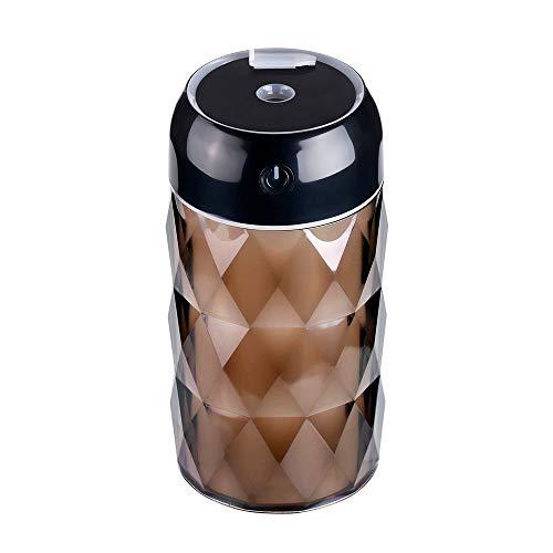 200mlCreative The New Mini USB Humidificador de botella de cristal Hogar Luz nocturna Oficina de escritorio Automóvil Purificador de aire Humidificador 6.75 * 6.75 * 13cm, negro