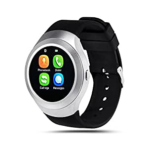 Bingo C5 Silver Smart Watch,bluetooth smartwatch compatible with anroid and ios device, sim card supportable smart watch with NANO Toughened Glass Screen . …