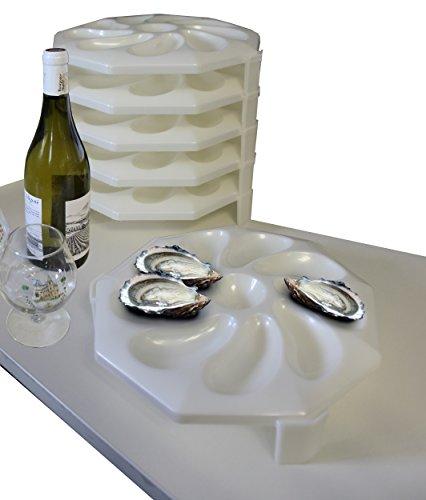 Teller hat Austernöffner weiß nacre- Set 6–creastuce