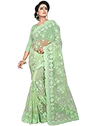 4193fc87785 Ankit Fashions Women s Resham Embroidery With Ceramic Stone Work Net Saree  in Light Green
