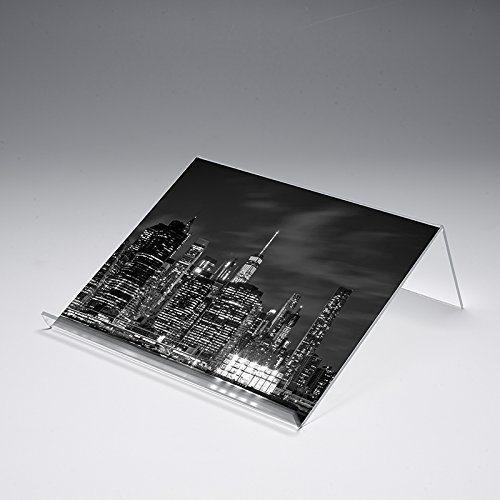 Buchstütze mit Motivdruck 'Big City' | Buchständer | iPad-Stütze | Warenstütze | Acrylhalter | Warenträger aus Acrylglas | Werbeaufsteller, Größe:40x25x12 cm