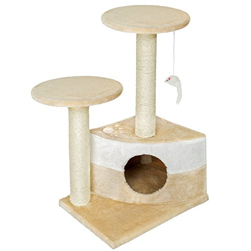 Tectake tiragraffi per gatti gatto gioco palestra sisal nuovo altezza media - disponibile in diversi colori - (beige   no. 400483)