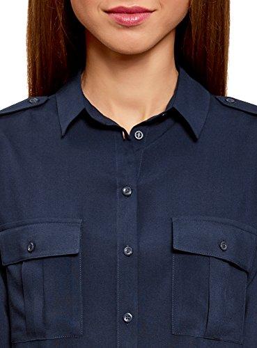 oodji Ultra Damen Viskose-Bluse Basic mit Brusttaschen Blau (7900N)