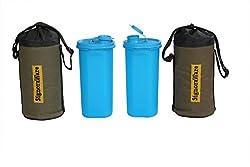 Signoraware Kids Water Bottle with Bag Set, 650ml, Set of 2, Turkish Blue