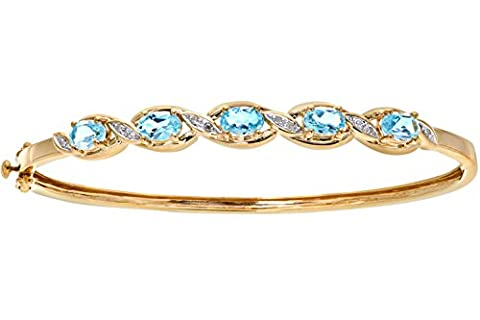 Naava Women's Diamond and Blue Topaz Bangle, 9 ct Yellow Gold, Prong Setting 0.05 ct Diamond Weight, Model PBC1838