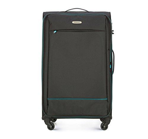 WITTCHEN Reisekoffer Trolley 27'' Koffer, 31 x76 x47 cm, Türkis/schwarz, 88 Liter, Größe: groß, L, Polyester, TSA Zahlenschloss, 56-3S-463-10