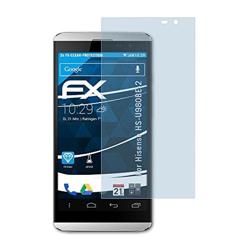 atFolix Schutzfolie kompatibel mit Hisense HS-U980BE-2 Folie, ultraklare FX Bildschirmschutzfolie (3X)