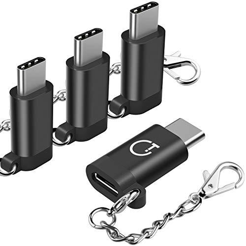 USB C Adapter, Gritin [4 Stück] Typ C Adapter mit OTG Funktion - Aluminium Typ C auf Micro USB Adapter für MacBook Pro, ChromeBook Pixel, Nexus 5X usw.