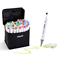 Ohuhu 60 Colours Dual Tips Permanent Marker Pens Art Markers for Kids, Highlighter Pen with Carrying Case for Drawing Sketching Adult Colouring Highlighting and Underlining
