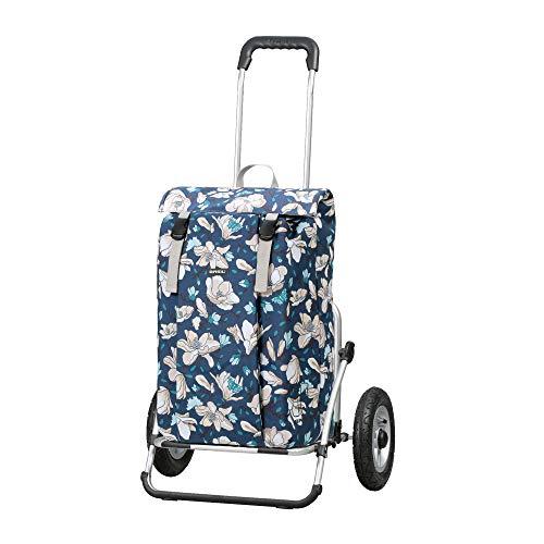 Andersen Einkaufstrolley Royal XXL klappbar mit luftbereiftem Kugellagerrad 25 cm und 37 Liter Einkaufstasche Basil Magnolia grau/rosa,wasserdicht