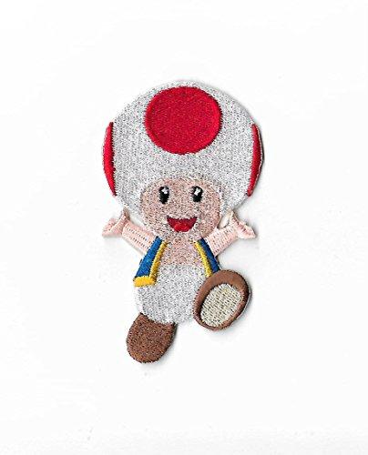 (MemelBurg Toad Patch Brüder bestickt Eisen oder annähen Abzeichen Applique Souvenir Retro DIY Kostüm Mario World Kart Snes Gamer)