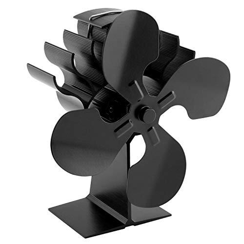 Kaminventilator,Ofenventilator,Umweltfreundliche, hitzebetriebene Silent-Pellet-Holzkohlebrenner-Kaminofen-Ventilator mit 4 Klingen für den Hausgarten