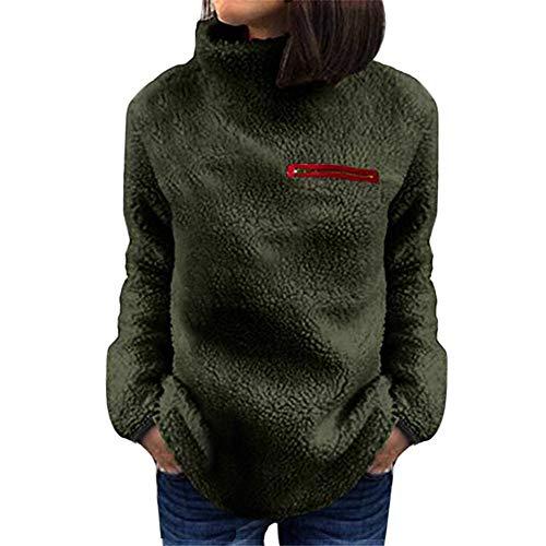 VEMOW Winter Elegante Damen Warme Outwear Sweatershirt Feste Reißverschlüsse Lässig Täglich Im Freien Rollkragen Bluse Pullover Tops Hemd Oberteile(X1-Armeegrün, EU-40/CN-L) -