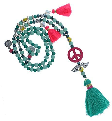 Needful Thinx Lange Ibiza Halskette Handmade Boho Hippie Kette Festival bunt natur neon Bommeln Fransen Muscheln Perlen IN65 (Flying Eyeball grün / 63cm)