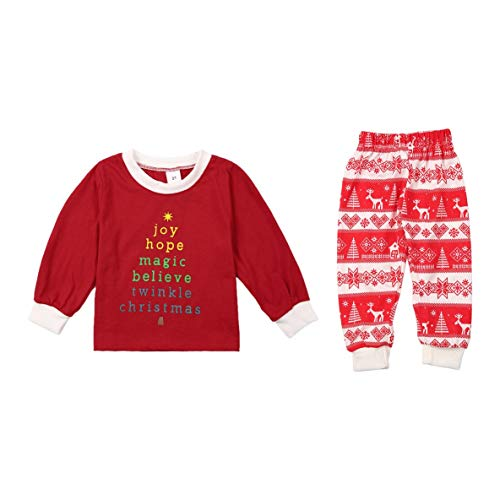 Noradtjcca Red Christmas Pyjamas Suit Eltern-Kind-Outfit Warme Herbst Winter Familie Nachtwäsche Anzug Elegante Druck Nachtwäsche
