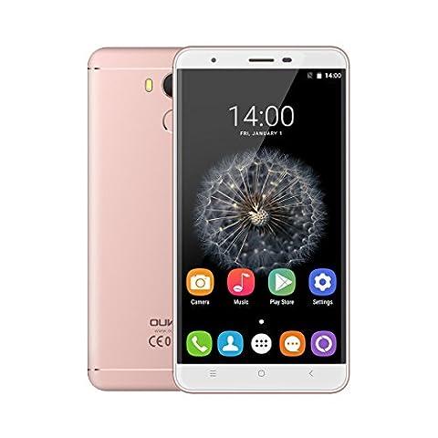 OUKITEL U15 Pro 5.5 Zoll 4G Smartphone Android 6.0 Octa Core 3G RAM+32G ROM Dual SIM Handy ohne Vertrag IPS HD Screen Fingerprint HotKnot OTG GPS Metal Cover Rosa