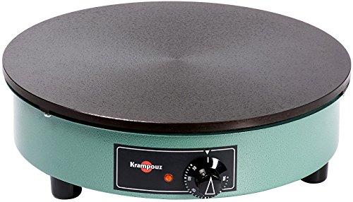 Crêpière Billig Ø 40 cm- 3000 W-Plaque en fonte usinée-Thermostat 50° à 300°-Bleu vert – KRAMPOUZ