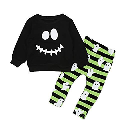 Gfjhgkyu Schöne und weiche Smiley Face Baby Kinder Jungen Langarm T-Shirt Top Hosen Set Halloween-Kostüm Black ()